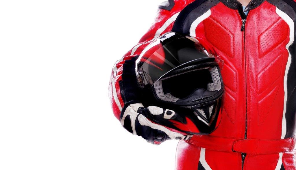 Person in motorcycle gear and clothes