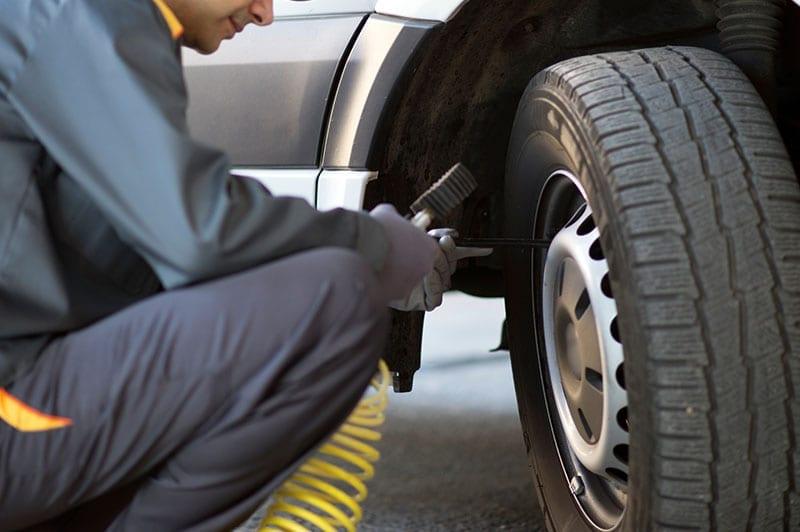 checking a van tyre
